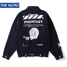 Hip Hop Embroidery <b>Denim Jackets</b> Men Jeans Coat <b>Hole</b> Ripped ...