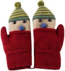 AiSi Unisex Kids Knitted Gloves <b>Cartoon Christmas Snowman</b> ...
