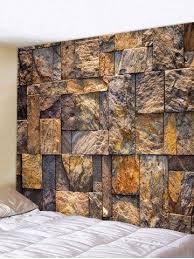 <b>Stone Wall Printed</b> Tapestry Art Decor | <b>Stone wall</b> design, Stone ...
