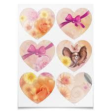 Наклейки-сердца 7.5x9.7см Цветы, розовый <b>бантик</b> и портрет ...