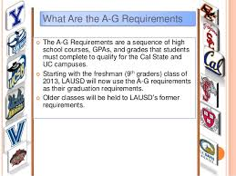 What Are the A G Requirements    The A G Requirements are a sequence of highschool