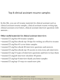 doc clinical medical assistant resume sample template top 8 clinical assistant resume samples