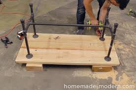 homemade modern diy ep68 pipe coffee table step 15 black iron pipe table