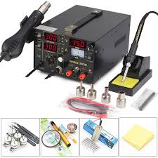 <b>YIHUA 853D</b> 3in1 Dual Display Rework <b>Soldering</b> Station Hot Air ...