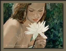 "Fine Art Paintings by Serena Rose. ""Sensual Delight"". Oil painting of a beautiful young girl holding a water lily to her face to smell. Oil on Canvas - sensual-delight-lg"
