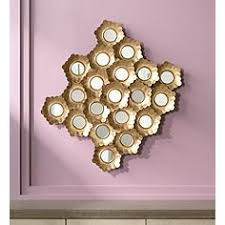 mirror wall decor circle panel: abstract floral gold leaf quot high mirrored wall art