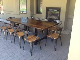 appealing wooden outdoor dining table ideashouse with black cheerful reclaimed wood and steel as well chairs cheap reclaimed wood furniture