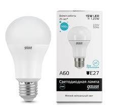 <b>Gauss LED Elementary</b> A60 15W E27 1450lm 4100K 1/10/50 арт ...