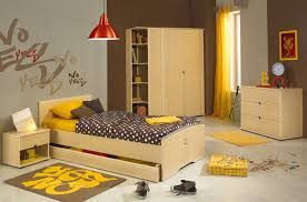 creative gami bed set with yellow curtain and mat also garfield poster on the brown wall bedroom kids bed set