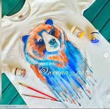 Медведь, радуга, потеки краски, акварель ручная роспись ...