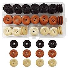 Assorted Round <b>Wood Wooden</b> Buttons Black <b>Brown Beige</b> 4 Hole ...