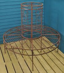 Selections <b>Circular</b> Metal Garden <b>Tree Bench Seat</b> in Rustic Brown