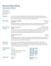 sample resume · resume comselect template blue skies