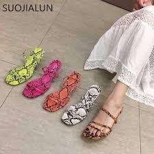<b>SUOJIALUN 2019 Brand Summer</b> Women Slipper Low Heel Slides ...