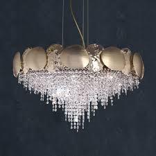 Italian <b>Designer Gold</b> Plated Contemporary <b>Crystal</b> Chandelier ...