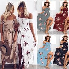 Lossky <b>2018 New</b> Women Sexy Side Split <b>Summer Dress</b> Off ...