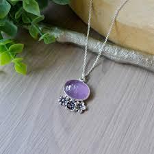 Amethyst Necklace, <b>Floral</b> – <b>Silver</b> Moose Arts