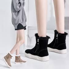 <b>Winter</b> new leather Korean warm women's boots <b>plus cotton casual</b> ...