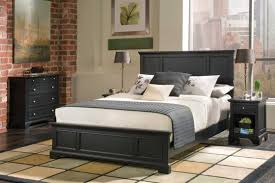 l awesome black painted mahogany wood bed frame with overstuffed queen size foam mattress includes pillows and small wooden nightstand in black varnishes amazing bedroom awesome black