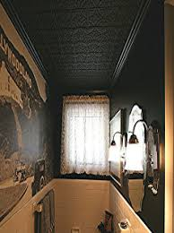 sagging tin ceiling tiles bathroom: painted black  styrene tin ceiling panel