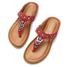 SOCOFY <b>Large Size</b> Rhinestone Clip Toe Bohemia <b>Flip Flops</b> ...