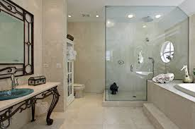 luxury bathroom with natural non slip stone tiles in cream and large step in shower basic bathroom strip