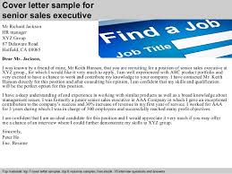 Senior sales executive cover letter Cover letter sample for senior sales executive