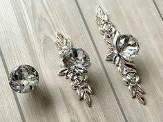 Crystal <b>Drawer Knobs</b> Glass <b>Dresser</b> Knob <b>Pulls Handle</b> Silver Clear ...