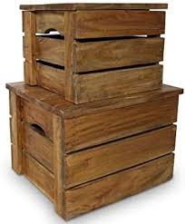vidaXL Solid Reclaimed Wood Storage Crate Set 2 ... - Amazon.com