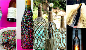 Home Decoration Material Splendid Room Accessories Made Of Wine Bottles Material With Yarn
