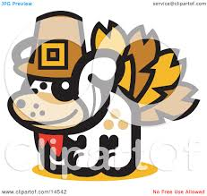 dog disguised as a thanksgiving turkey clipart illustration by andy nortnik