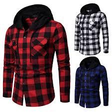 New <b>2019</b> Shirt Men <b>Spring Hot</b> Sale Quality Plaid Shirts Hooded ...