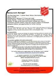 vacancy salvation army restaurant manager winton forum salvation army advert