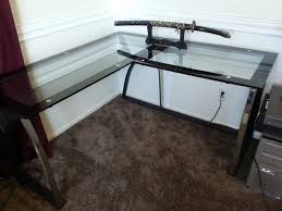 expensive office furniture. l shaped glass desk with stainless steel bases placed in the inside expensive office furniture