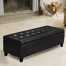 Black Faux Leather Tufted Storage Bench Ottoman ... - Amazon.com