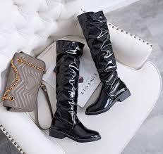 <b>ANNYMOLI</b> Patent Leather <b>Winter</b> Boots <b>Knee High</b> Boots Women ...