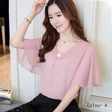 Large size women's 2018 new <b>thin chiffon shirt short</b>-sleeved shirt T ...