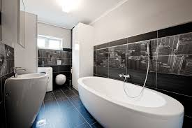 stunning home design small bathroom ideas with trendy white acrylic oval soaking bathtubs and amazing black bathroom decor designs pictures trendy