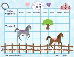 printable personalized kids chore reward chart horses  128270zoom