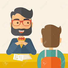a smiling caucasian human resource manager beard interviewed a smiling caucasian human resource manager beard interviewed the applicant his curriculum vitae for