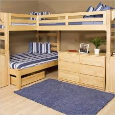 amazing bunk beds with desks plus stripped bedding set and comfy rug and awesome wooden floor bed desk set