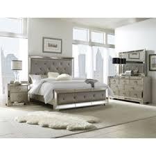 piece emmaline upholstered panel bedroom: celine  piece mirrored and upholstered tufted queen size bedroom set