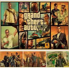 PC <b>Game GTA5</b> Grand Theft Auto V <b>Vintage</b> Paper Poster Wall ...