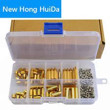 180pcs set hex nut spacing screw brass threaded pillar pcb motherboard standoff spacer kit male female brass standoff