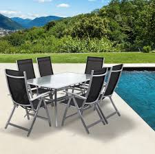 patio table and 6 chairs: metal frame outdoor dining set with black mesh chair
