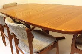 moller dining table  gudme mobelfabrik niels moller pedestal dining table teak  leaves mid