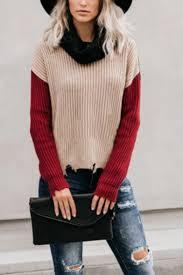Womens Casual Turtleneck Colorblocked Long Sleeve Ripped Hem ...