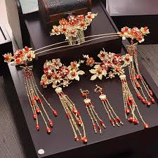Chinese new fashion Phoenix beads <b>hairpins</b> earrings crown ...