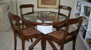 round dining table base: dining room brown wooden base with round glass top and brown wooden frame plus brown