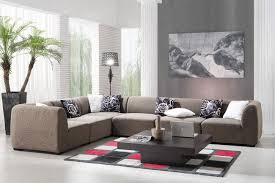 tropical living rooms: comely floor lamp in artistic tropical living room decor with l shaped grey tweed sofa sets
